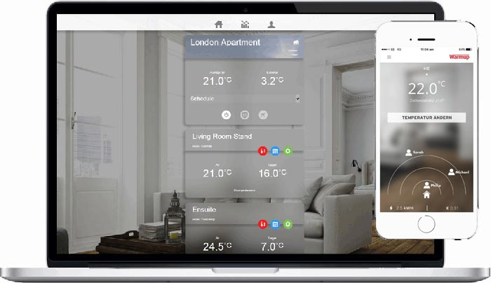 4ie smart home wlan thermostat f r leichte bedienung warmup. Black Bedroom Furniture Sets. Home Design Ideas